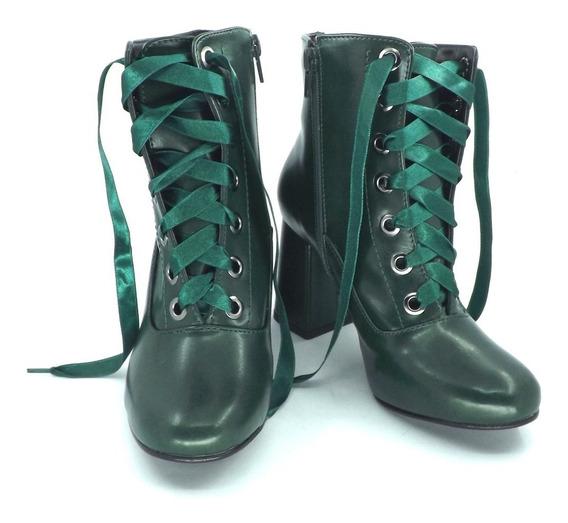 Botinha Art Noveau - Rosa Ballet Ou Verde Bosque