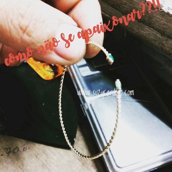 Bracelete Pulseira Rigida Ouro 18k Esmeralda Natural