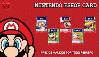 Tarjetas Nintendo Códigos Digitales Eshop