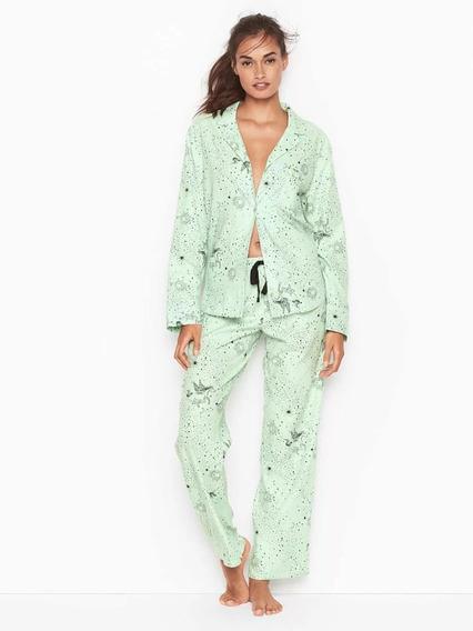 Pijama Verde Estrellas Chaqueta Pantalón S M Victoria Secret