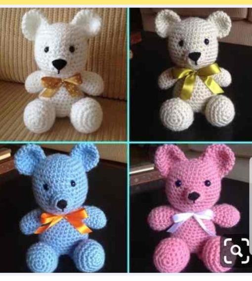 Urso De Croche (1 Unidade)14cm Apx