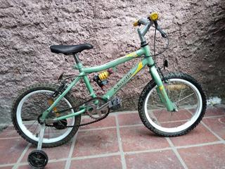 Linda Bicicleta R16 Niños Verde Con Rueditas