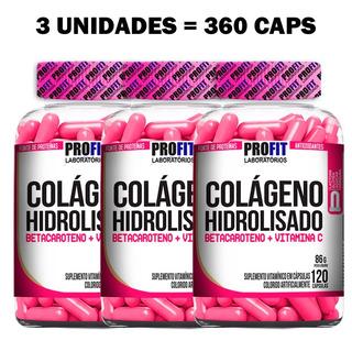 3x Colágeno Hidrolisado Para Mulher - 120 Caps - Profit