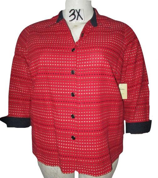 Saco Blazer Chaqueta Roja Estampada Ligera Talla 3x C.j. Ban