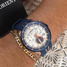 Relógio Orient Azul/rose Mostrador: Prata Com Mapa Desenhad