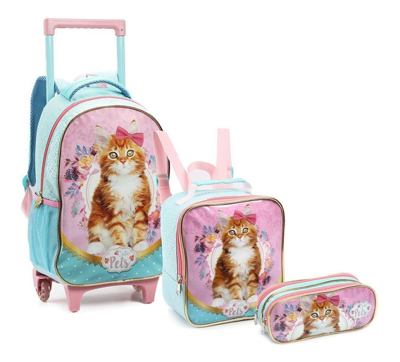 Kit Mochila Infantil Feminina Pets Zoo Animal Tam G Original