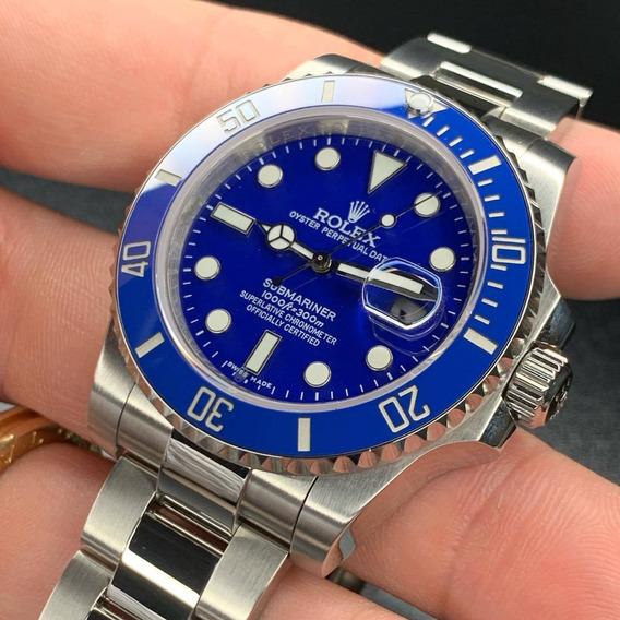 Relógio R. Submariner Azul Silver Superior - Frete Grátis