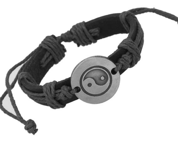 Pulseira Bracelete Couro Pingente Yin Yang Masculino