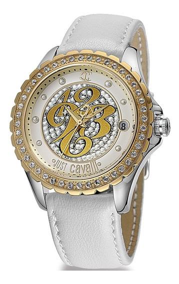Relógio Feminino Dourado Original Just Cavalli Couro Branco