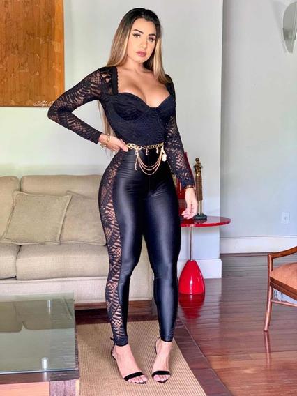 Macacão Renda Decote Balada Sexy Sensual Panicat