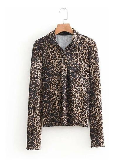 Blusa Con Estampado Leopardado