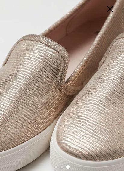 Zapatos Deportivos Flats De Dama Marca H&m Dorados Y Blancos