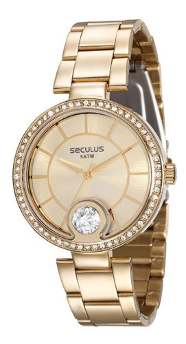 Relógio Seculus Feminino Dourado Grande Barato Prova De Água