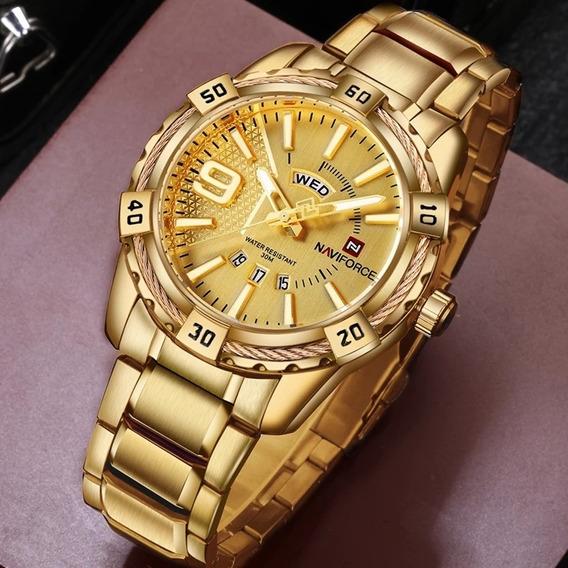 Relógio Naviforce Nf9117 Dourado Resist Á Agua Masculino Top