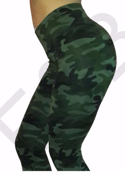 Calza Cintura Ancha Tiro Medio Alto Camuflado Verde Militar
