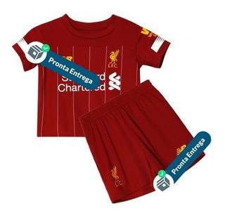 Conjunto Liverpool Infantil Salah - Pronta Entrega