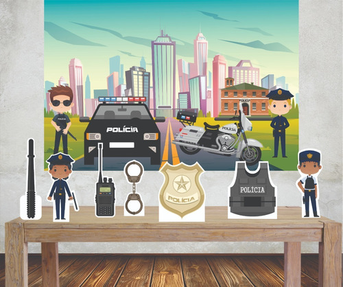 Imagem 1 de 5 de Kit Painel Poli Banner + Displays Festa Policial