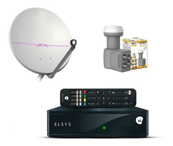 Kit Oi Tv Com Antena Mini Parabólica De Chapa 60 Cm + Lnb