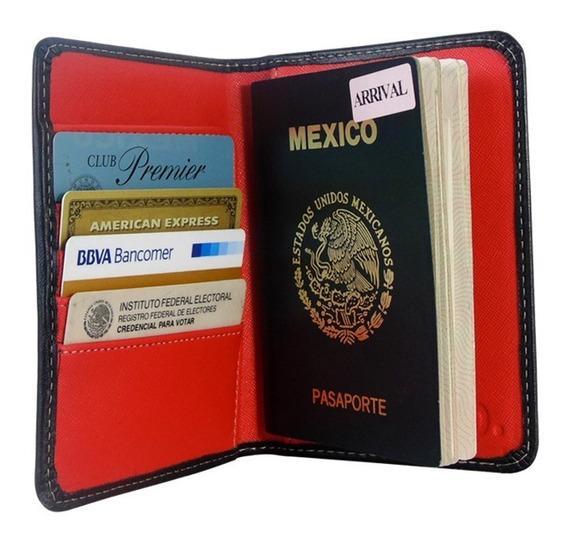 Porta Pasaporte Piel Suave Funda Documentos Visa Organizador