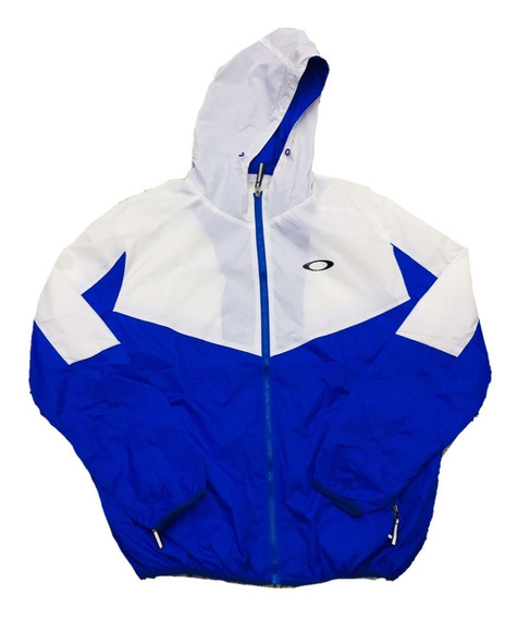 Jaqueta Corta Vento Azul Com Branco Tendência Blusa Jaqueta