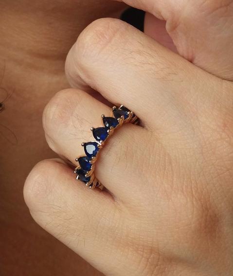Aparador De Aliança Pedra Azul Folheado Em Ouro