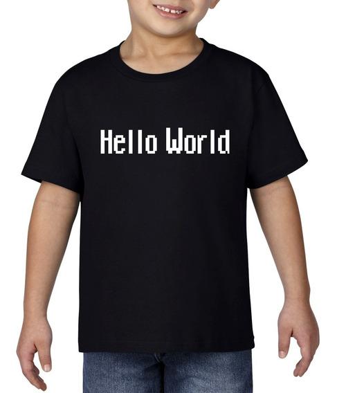 Camiseta Playera Bebe Niño Geek Programador Hello World