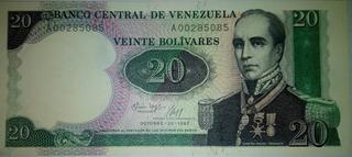 Billete De Coleccion De 20 Bolivares Serie A00 ( Unc )1987