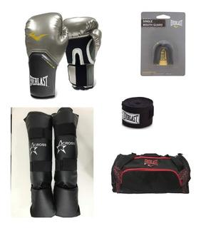 Kit Muay Thai Pro Everlast Prata+caneleira+acessórios+mala