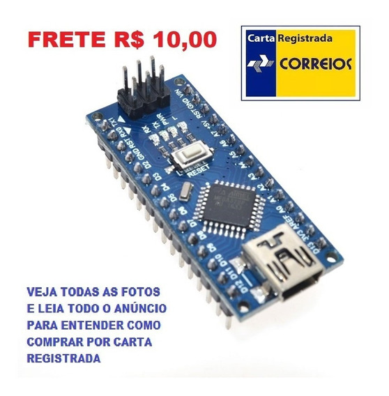 Arduino Nano 3.0 Atmega328 Ch340 Micro Mini Usb R$ 10,00