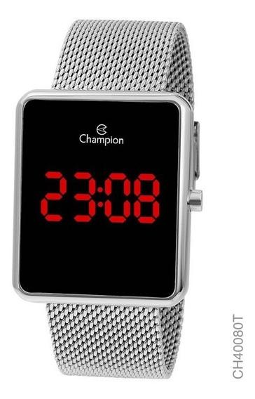 Relógio Digital Feminino Champion Prata Ch40080t Quadrado