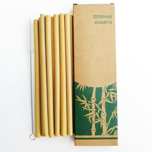 Set  De 15 Popotes De Bambú  Reutilizables C/ 3 Cepillos