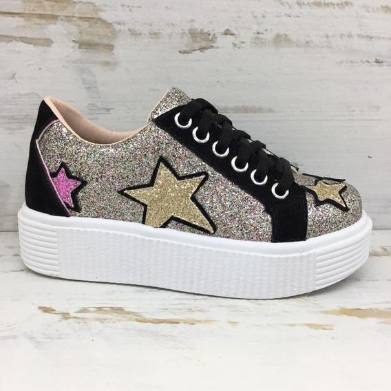 Calzados Mail Zapatilla Nenas Moderna Estrellas En Glitter