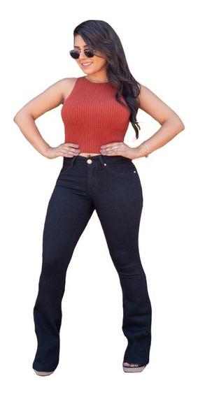 Kit 2 Calça Flare Feminina Jeans Com Licra Cintura Alta