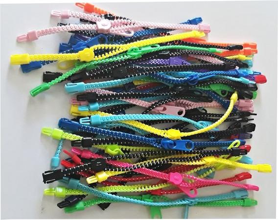 Atacado Pacote 100 Pulseiras Zíper Teen Fashion Coloridas