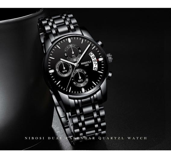 Relógio Nibosi Importado Mostrador Preto Frete Grátis