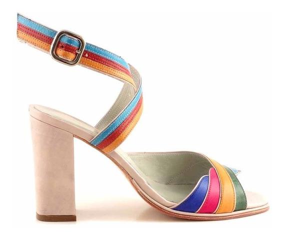 Sandalia Mujer Briganti Cuero Multicolor Taco - Mcsd04683