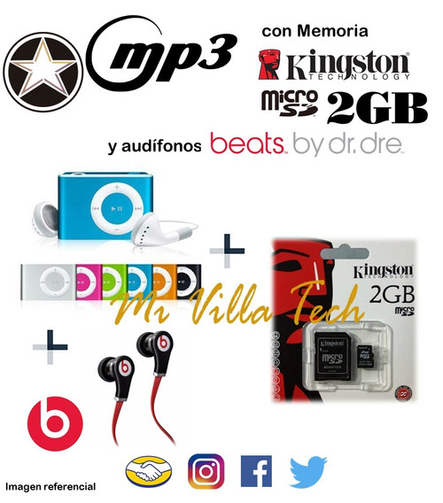 Reproductor Mp3 Shuffe + Memoria Kingstong 2 Gb + Audífonos