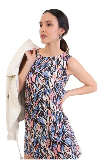 Vestido Corto Estampado Marca Mia Loreto Modelo Artemisia