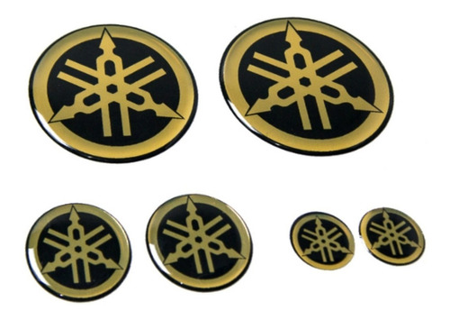 Emblema Adesivo Resinado Tanque Logo Yamaha Dourado