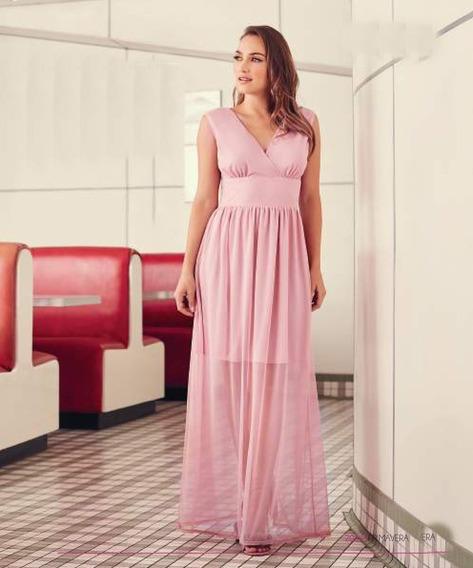 Vestido Rosa Largo Con Transparencias, Damas De Quinceñera