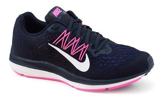 Tênis Nike Wmns Zoom Winflo 5 Marinho Pink Branco - Aa7414-4