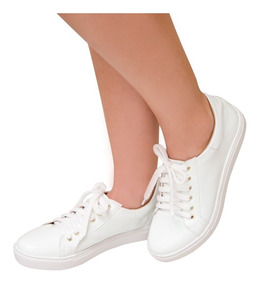 Tênis Feminino Branco Verniz Da Moda
