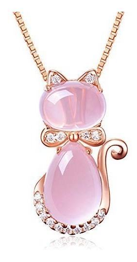 Collar Cristal En Forma De Gato Corazón Gota De Agua