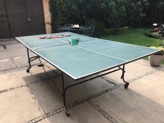 Mesa De Ping Pong Con Red Y Raquetas