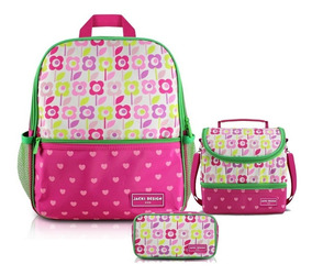 Kit Mochila Infantil Lancheira Necessaire Flor Pink