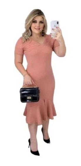 Vestido Longuete Moda Evangélica Comportado Com Manguinha