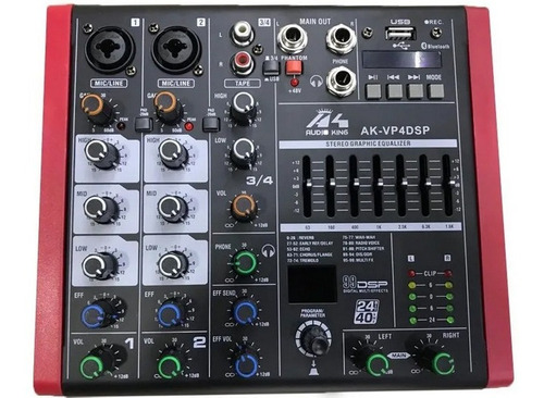 Mixer Audioking Vp4dsp Usb/bt/dsp/graba En Vivo + Envio
