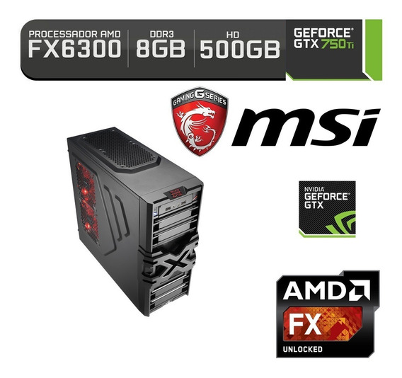 Pc Gamer Fx 6300 Placa Video Gtx 750 Ti 500gb Hd 8gb Ram Ssd