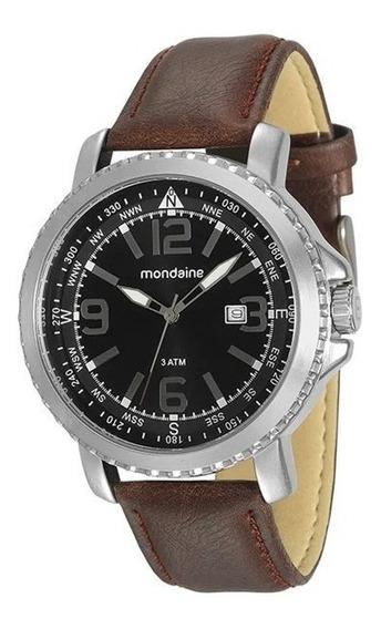 Relógio Mondaine Masculino Prata/marrom 76690g0mvnh1