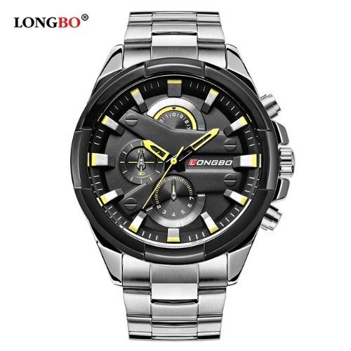 Relógio Longbo Aço Prata Masculino Preto Grande Grande